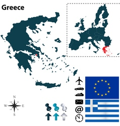 Greece and European Union map vector image vector image