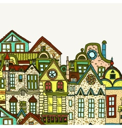Hand-drawn old town background vector image vector image