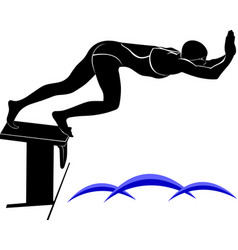 image of a swimmerit is drawn in the style of vector image vector image