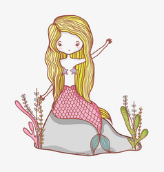 little mermaid cartoon vector image