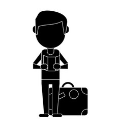 man with travel bag and map pictogram vector image