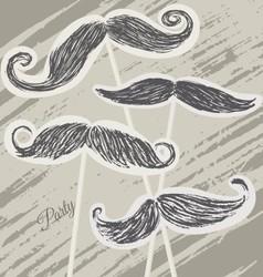 Mustache retro party background vector image