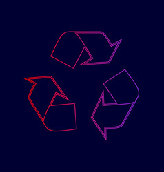 recycle logo concept line icon with vector image vector image