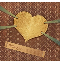 romantic retro background with heart vector image vector image
