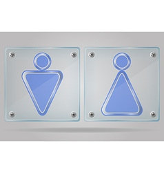transparent sign man and women toilets on the vector image vector image