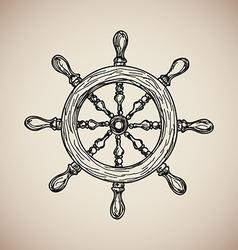 Vintage Marine Steering Wheel isolated engrave vector image vector image