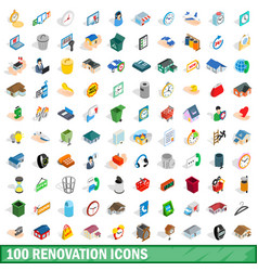 100 renovation icons set isometric 3d style vector image