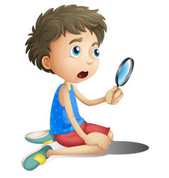A boy with magnifying glass vector