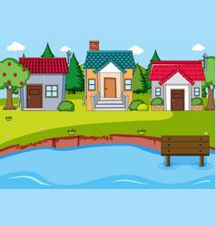 a simple rural village scene vector image