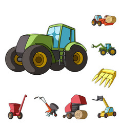 Agricultural machinery cartoon icons in set vector