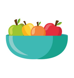 Apples inside bowl design vector