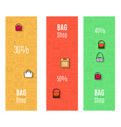 Bag shop vertical flyers set vector
