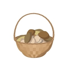 Basket of mushrooms icon cartoon style vector image
