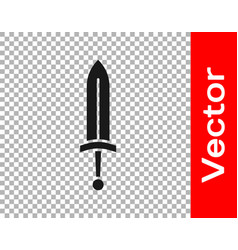 Black medieval sword icon isolated on transparent vector
