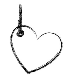 Blurred sketch silhouette love heart figure vector