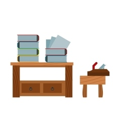 Book stacking table and plane on chair vector