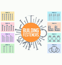Building metal fasteners flat collection vector