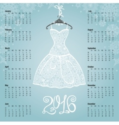 Calendar 2016 yearWhite dresssnowflakes vector