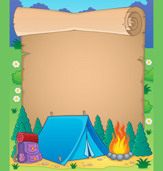 Camping theme parchment 1 vector
