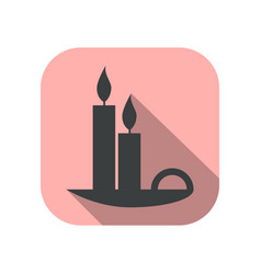 candles flat icon with long shadow vector image