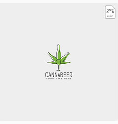 Cannabis and beer logo template vector