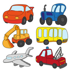 cartoon cars collection of transportation vector image