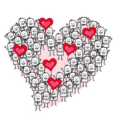 Cartoon group of people making a heart shape vector