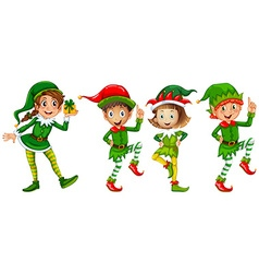 Christmas elf in green costume vector image