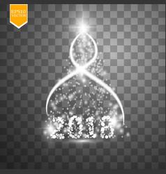 Christmas tree made white glitter bokeh lights vector