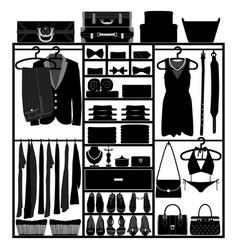 Closet wardrobe cupboard cloth accessories man vector