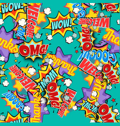 Comic book words pop art background seamless vector