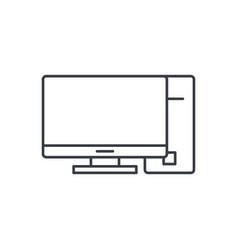computer desktop thin line icon linear vector image