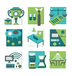Coworking concepts flat color icons vector