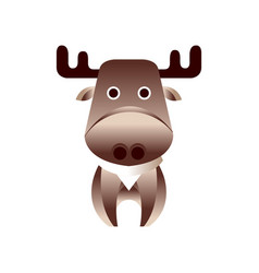 cute brown deer stylized geometric animal low vector image