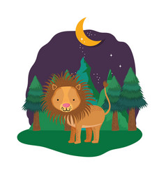 cute lion in the landscape on the night vector image