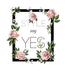 design for print t-shirt with tea roses vector image