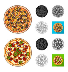 different pizza cartoonblackflatmonochrome vector image