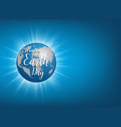 Earth day banner lettering on blue vector