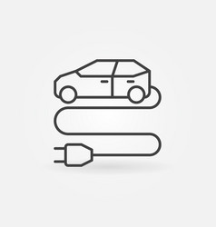 electric vehicle with plug outline icon ev vector image