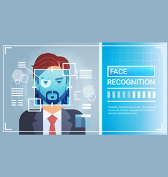 Face recognition system eye retina scanning of man vector
