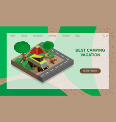 Family resting in nature eco tourism camping vector