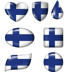 Finnish Flag in various shape glossy button vector image