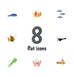 Flat icon marine set of fish octopus seafood and vector