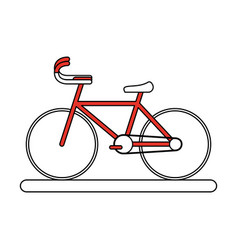 Flat line bike with hint color over white vector