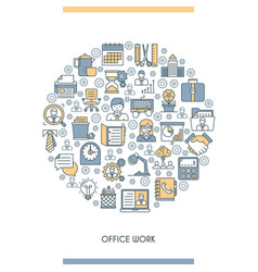 flat line design office concept vector image