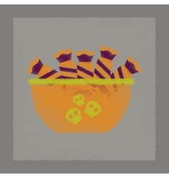 Flat shading style icon halloween candy vector