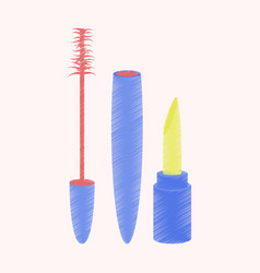 flat shading style icon mascara and lipstick vector image