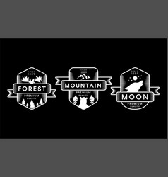 Forest mountain and moon collection set logo vector