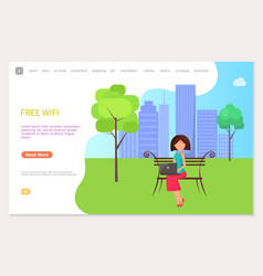 free wifi zone in city park woman sitting on bench vector image