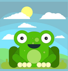 frog in cartoon flat style on the background of vector image